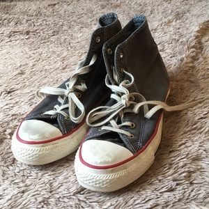WORN ONCE DISTRESSED HIGH TOP CONVERSE